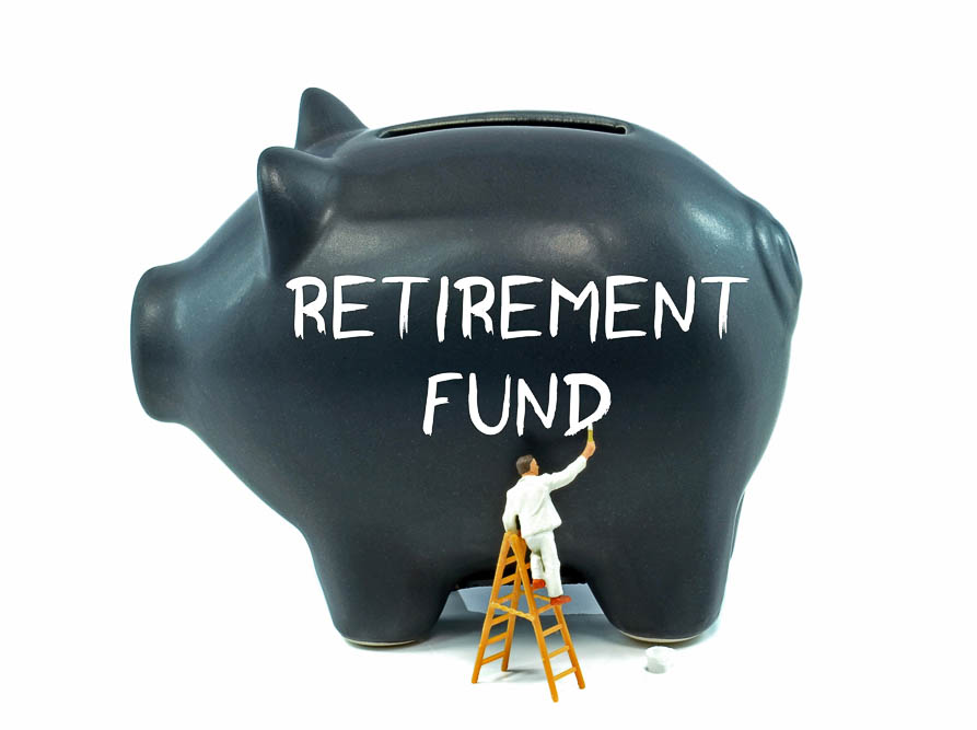 A piggy bank with the retirement fund theme on the side